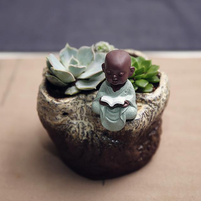 陶瓷小和尚多肉植物花盆